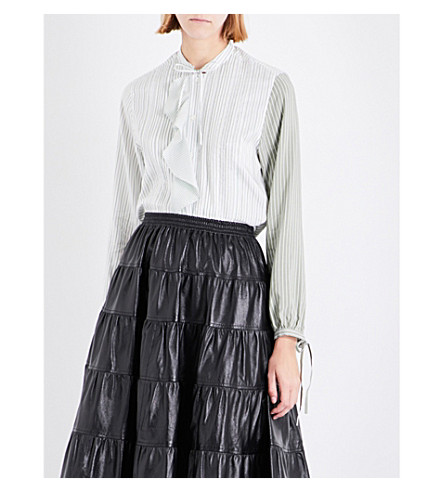 JW ANDERSON Striped frill-panel silk shirt (Apple
