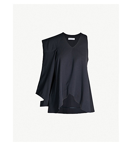 JW ANDERSON Asymmetric woven top (Navy