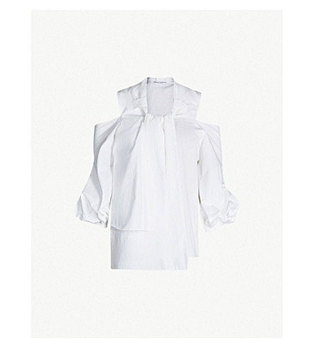 JW ANDERSON Puffed-sleeve cotton blouse (White