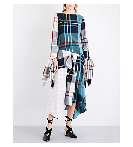 JW ANDERSON Patchwork check woven top (Mint