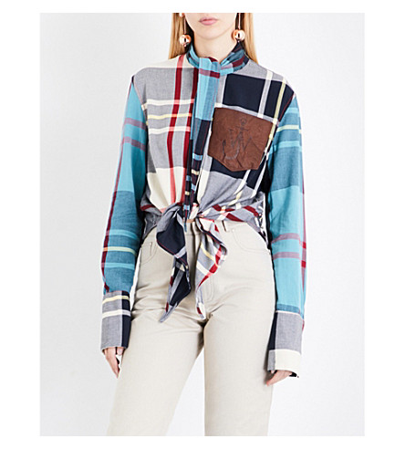JW ANDERSON Patchwork check woven shirt (White