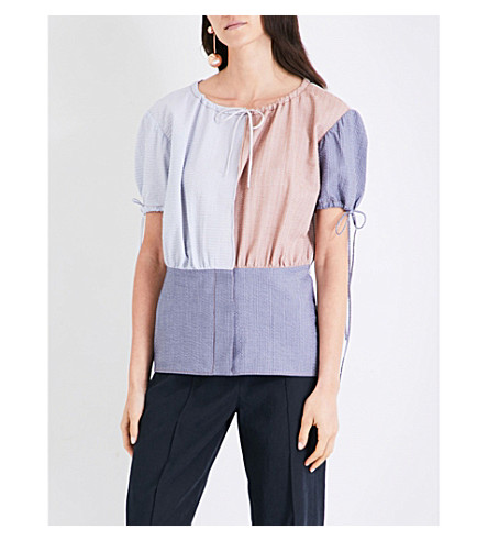 JW ANDERSON Patchwork-panel cotton-chambray top (Chambray