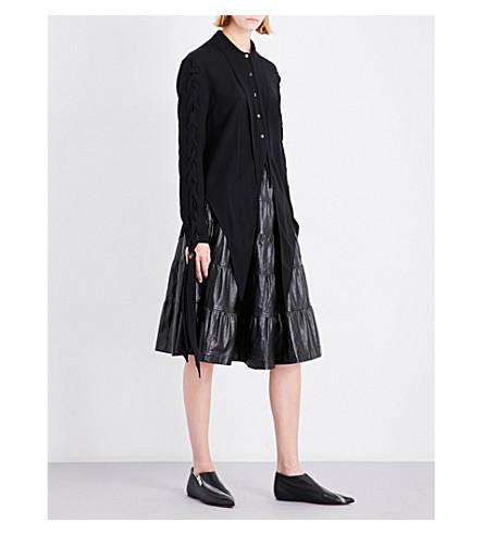 JW ANDERSON Lace-up crepe shirt (Black