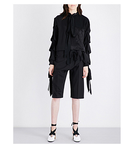 JW ANDERSON Self-tie Tudor-sleeve crepe and silk shirt (Black