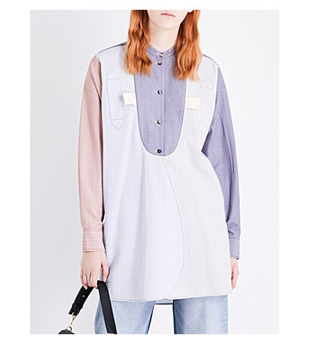 JW ANDERSON Patchwork cotton bib shirt (Chambray