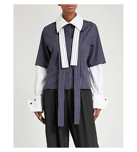 JW ANDERSON Double layer striped cotton shirt (Navy