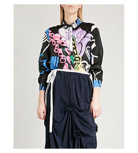 JW ANDERSON Foxglove-print cotton and silk-blend shirt (Black+print