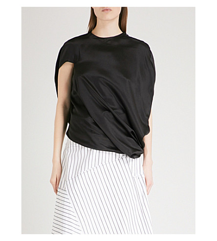 JW ANDERSON Asymmetric silk-satin top (Black