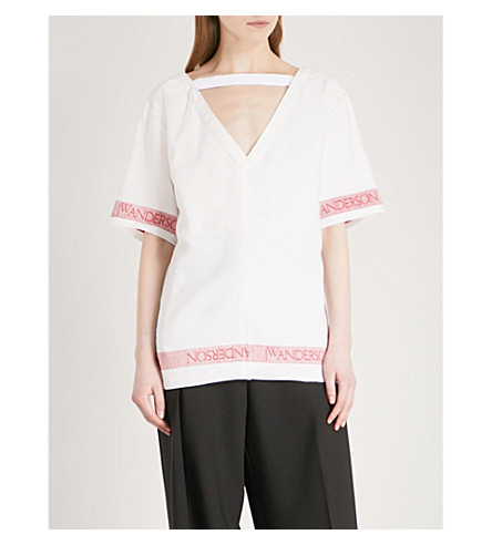 JW ANDERSON V-neck linen top (White