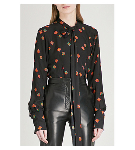 JW ANDERSON Floral and polka dot-print crepe and silk blouse (Black
