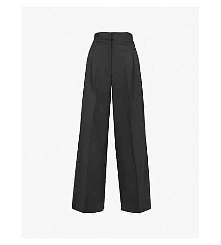 JW ANDERSON High-rise wide stretch-wool trousers (Black