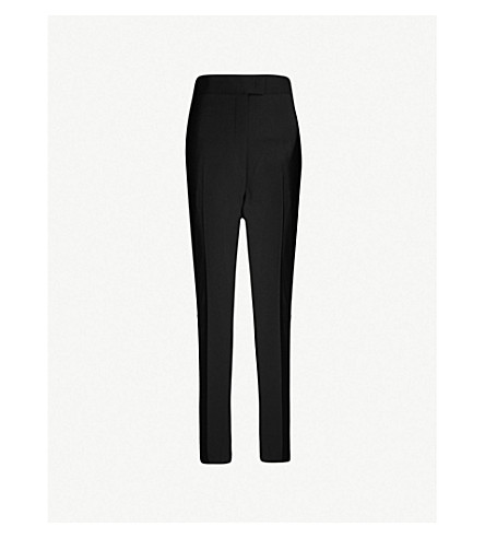 JW ANDERSON Straight high-rise stretch-wool tuxedo trousers (Black
