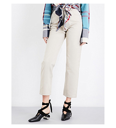 JW ANDERSON Leather-pocket straight high-rise jeans (Calico