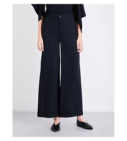 JW ANDERSON Pinstriped wide-leg wool-blend trousers (Navy