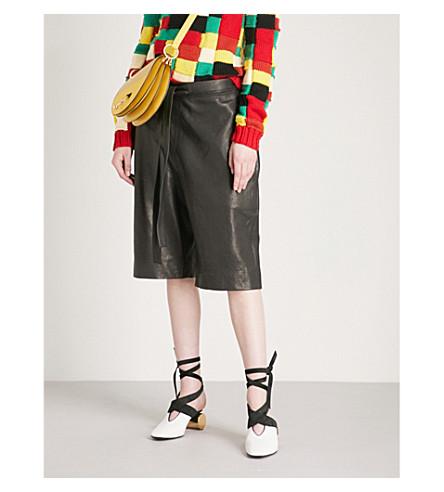 JW ANDERSON Paperbag-waist leather shorts (Black