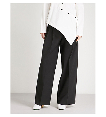 JW ANDERSON High-rise wide-leg wool-blend trousers (Black