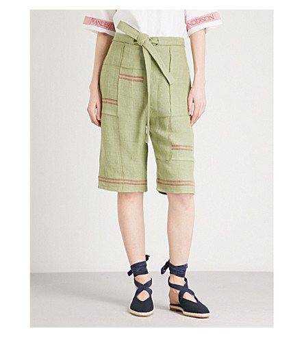 JW ANDERSON Patchwork linen and cotton shorts (Willow