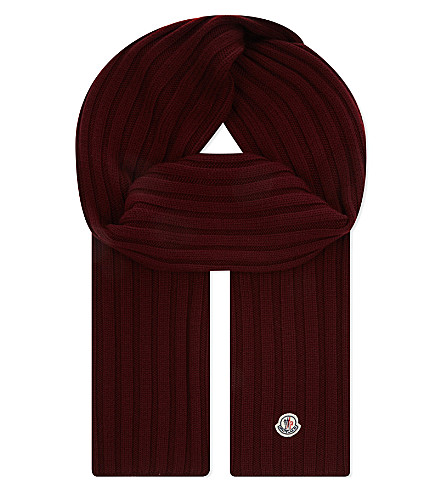 MONCLER Ribbed knitted wool scarf (Bordeaux