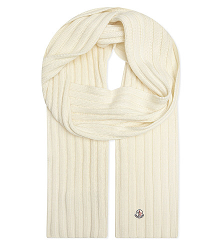 MONCLER Ribbed knitted wool scarf (White