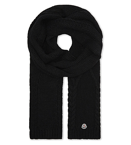 MONCLER Cable knit scarf (Black