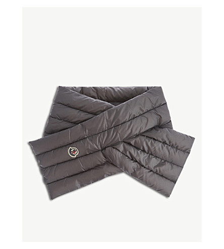 MONCLER Logo-embroidered puffer scarf (Pale+grey