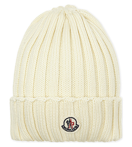 MONCLER Ribbed knitted wool beanie (White