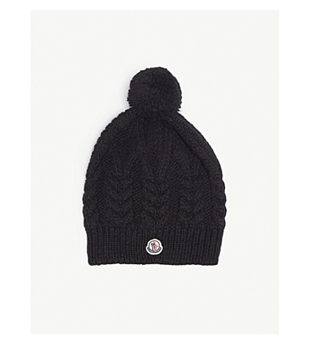 MONCLER Cable knit pompom beanie (Black