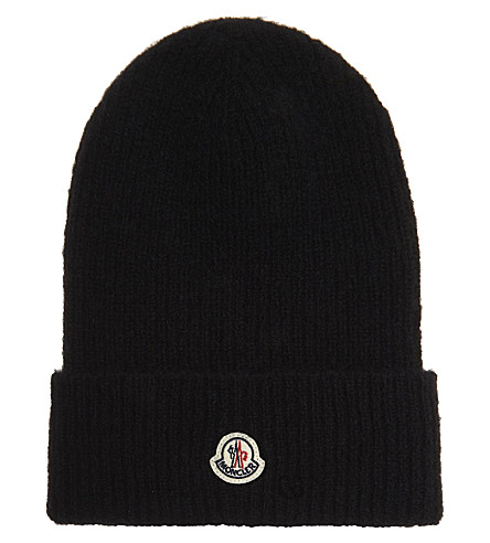 MONCLER Cable knit wool-alpaca blend hat (Black