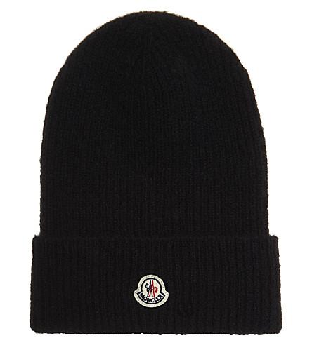 MONCLER 电缆针织羊毛-羊驼混合帽 (黑色