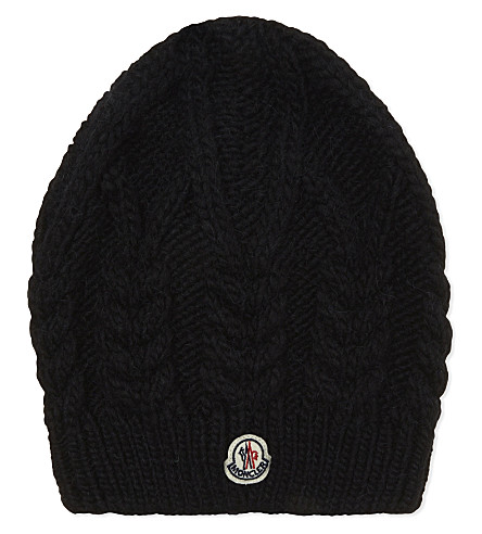 MONCLER Cable knit beanie hat (Black+white