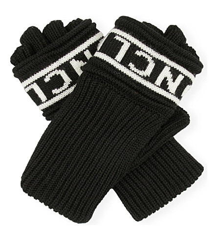 MONCLER Logo wool fingerless gloves (Black white