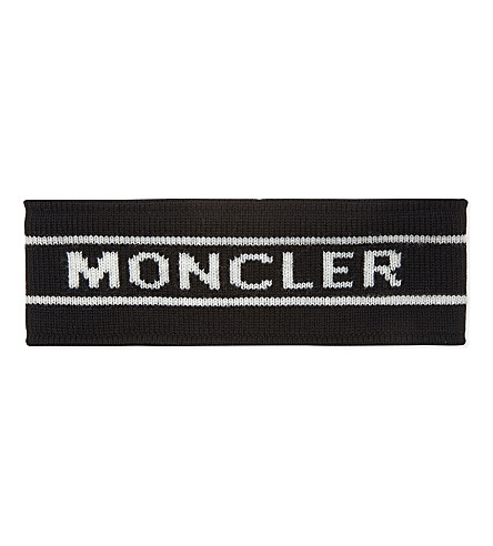 MONCLER Logo print knitted virgin wool headband (Black+white