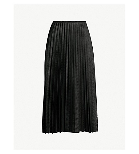 MONCLER High-waist pleated perforated stretch-jersey midi skirt (Black