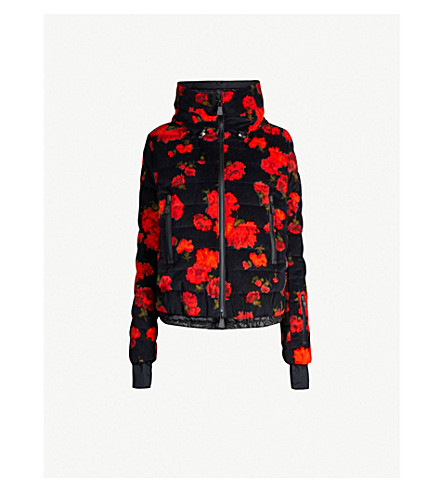 MONCLER Floral-print padded velvet and shell jacket (Black multi