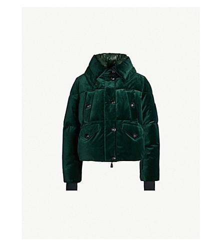 MONCLER Drawstring-waist padded velvet and shell jacket (Green