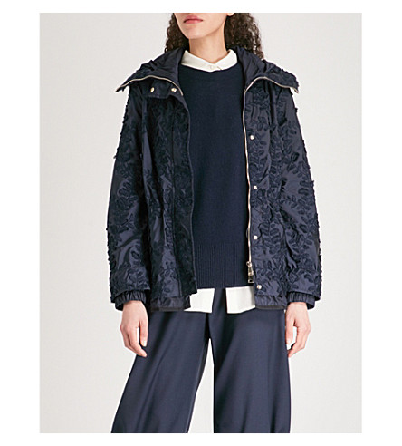 MONCLER Eclairine embroidered hooded shell parka jacket (Navy