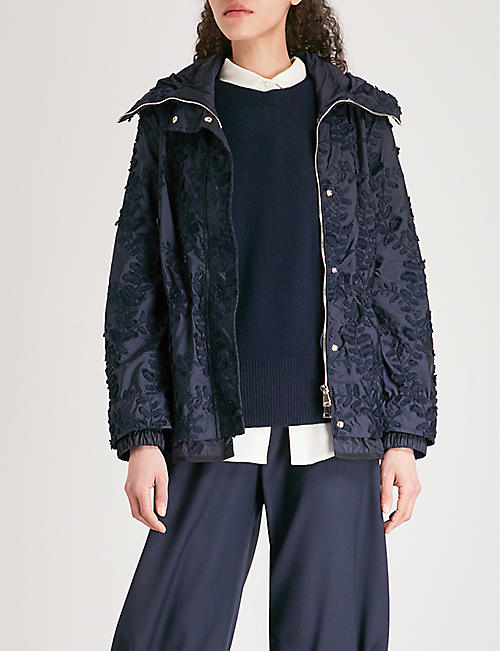 MONCLER Eclairine embroidered hooded shell parka jacket
