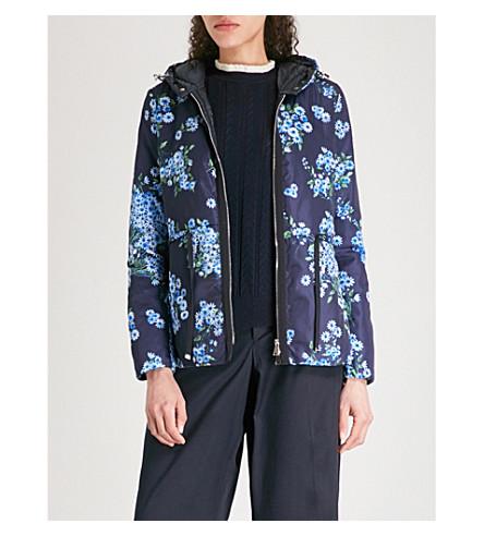 MONCLER Raief floral-print hooded taffeta parka jacket (Blue