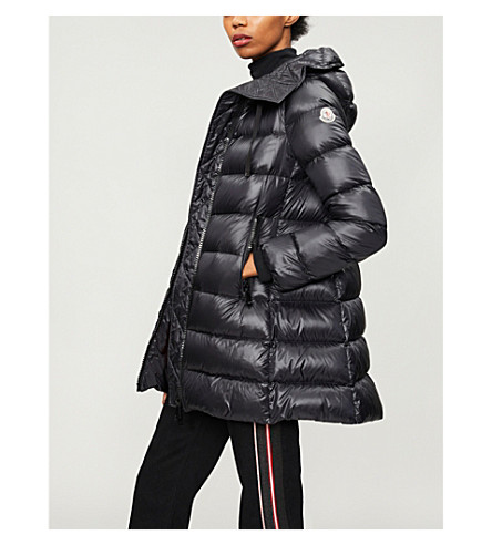 MONCLER Goose down and feather-filled padded shell coat (Black