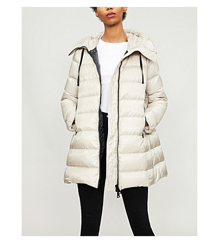 MONCLER Goose down and feather-filled padded shell coat (Champagne