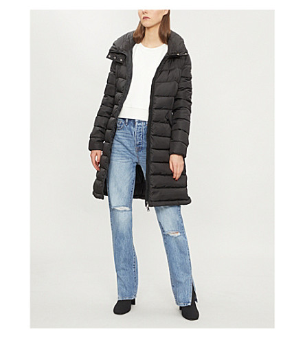 Flammette quilted shell-down coat