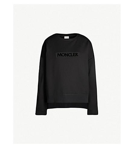 MONCLER Logo-embossed cotton-jersey sweatshirt (Black