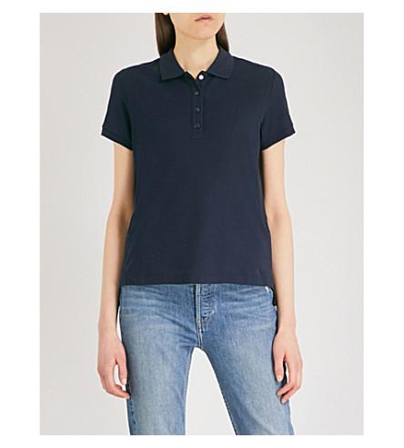 MONCLER Stepped-hem cotton polo shirt (Navy