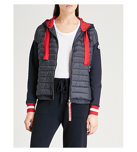 MONCLER Quilted-panel hooded shell and jersey jacket (Navy+red