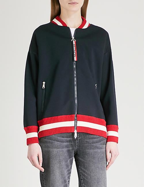MONCLER Striped-trim cotton bomber jacket