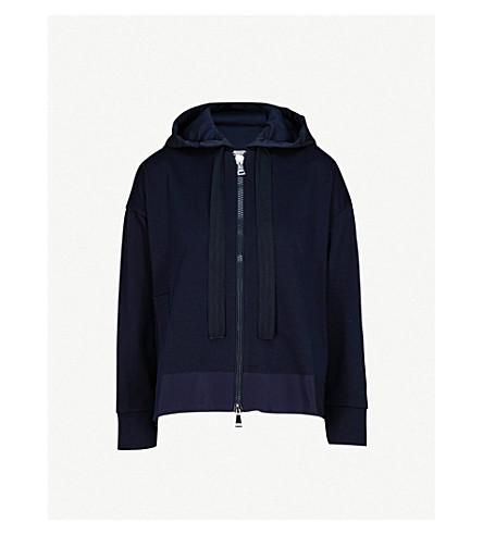 MONCLER Grosgrain-trim cotton-jersey hoody (Navy