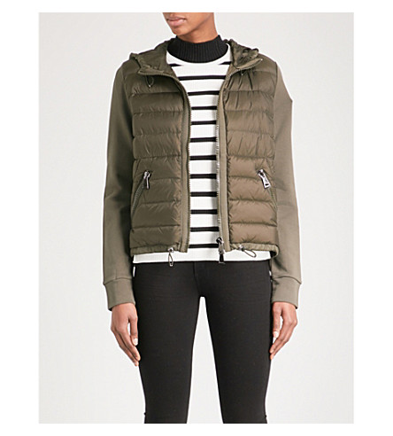 MONCLER Quilted shell and cotton-jersey jacket (Khaki