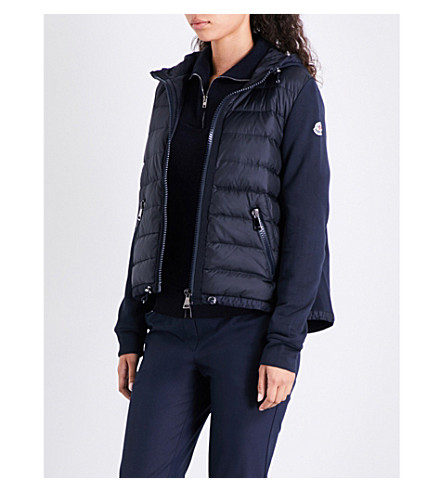 MONCLER Quilted shell and cotton-jersey jacket (Navy