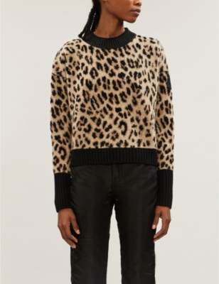 Leopard-print wool and cashmere-blend jumper