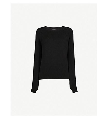 MONCLER Logo-intarsia wool jumper (Black+white